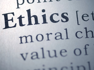 Closeup of dictionary page showing the definition of the word Ethics